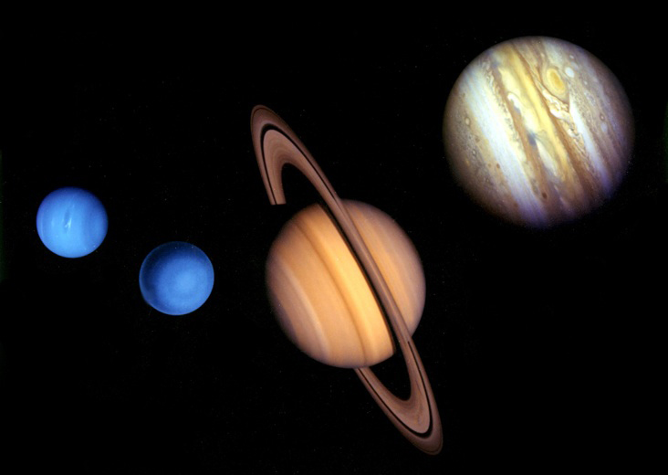 NASA created this size comparison chart for the solar system's giant outer planets based in imagery from the Voyager missions. Credit: NASA/JPL-Caltech