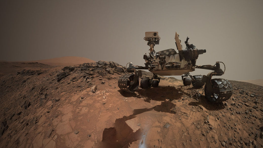 """This low-angle self-portrait of NASA's Curiosity Mars rover from 5 August shows the vehicle at the site from which it reached down to drill into a rock target called """"Buckskin"""" on lower Mount Sharp. Credit: NASA/JPL-Caltech/MSSS"""