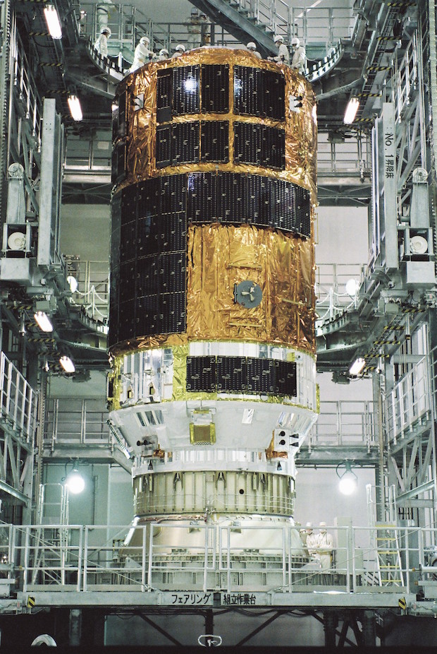 Japan's fifth HTV resupply spacecraft is pictured here before launch. Credit: JAXA