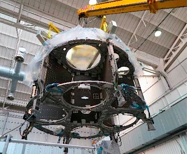 A structural test article of the Orion spacecraft's service module is undergoing testing at Thales Alenia Space in Italy. It will be shipped to NASA's Plum Brook Station in Ohio in October for further tests. Credit: NASA/ESA