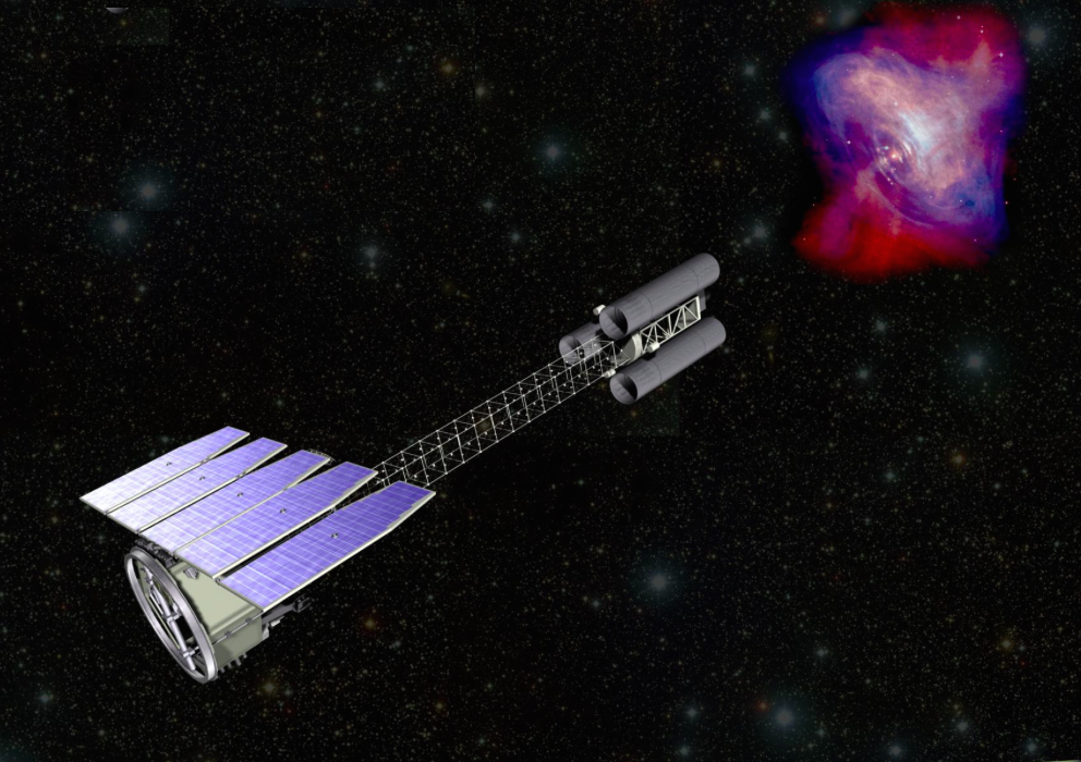 Artist's concept of the Imaging X-ray Polarimetry Explorer (IXPE), one of three finalists selected to be NASA's newest astrophysics observatory. Credit: NASA