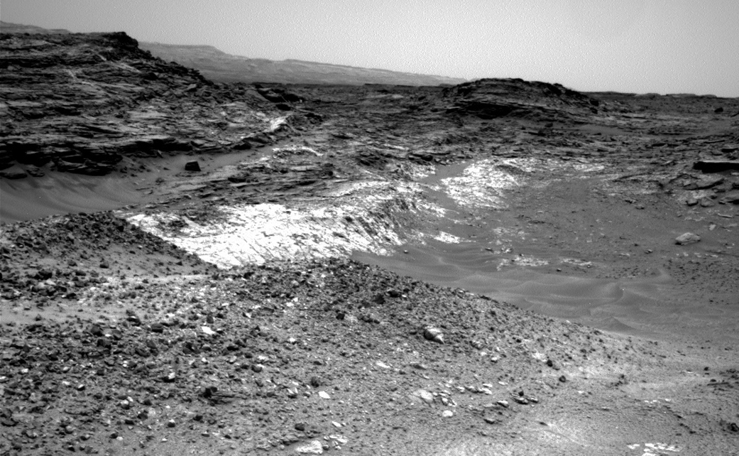 The Martian outcrop where pale rock meets darker overlying rock near the middle of this 21 May 2015, view is an example of a geological contact. Such contacts can reveal clues about how environmental conditions that produced one type of rock were related to conditions that produced the other. Credit: NASA/JPL-Caltech