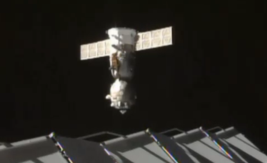 The Soyuz TMA-16M spacecraft moved to a new docking port on the International Space Station on Friday. Credit: NASA TV/Spaceflight Now
