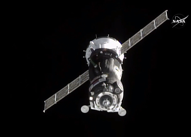 The Soyuz TMA-18M spacecraft approaches the International Space Station for docking Friday. Credit: NASA TV