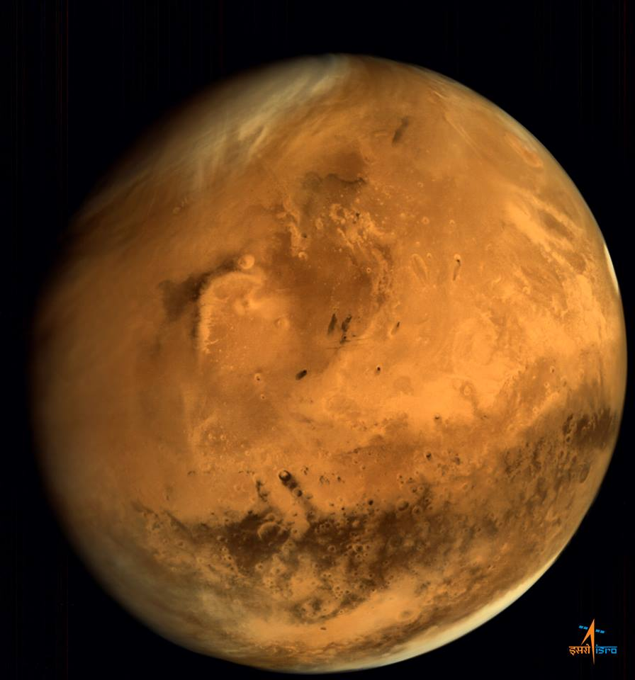 India's Mars Orbiter Mission captured this view of the red planet shortly after it arrived in 2014. Credit: ISRO