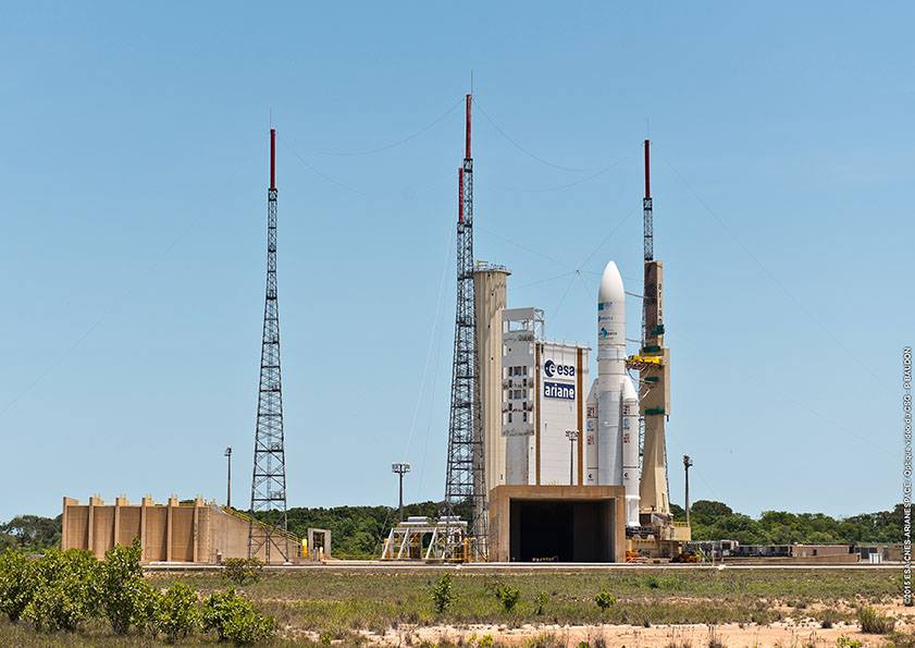 The Ariane 5 rocket with the Sky Muster and Arsat 2 satellites rolled out to the launch pad Tuesday. Credit: ESA/CNES/Arianespace – Photo Optique Video du CSG – P. Baudon