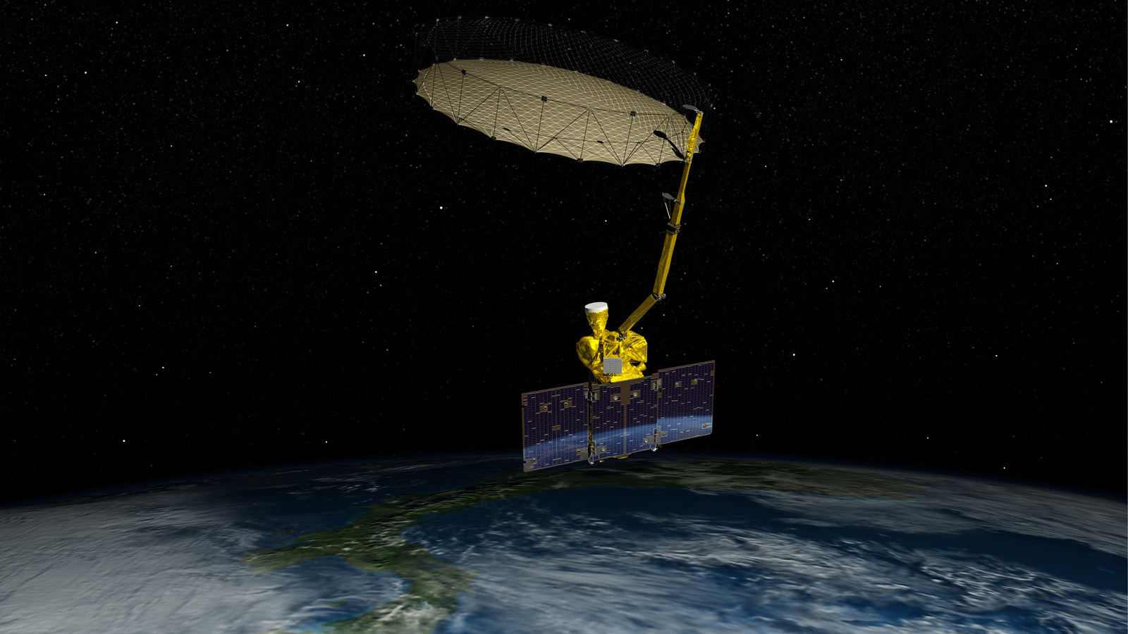 Artist's concept of the SMAP spacecraft and its rotating antenna. Credit: NASA/JPL-Caltech