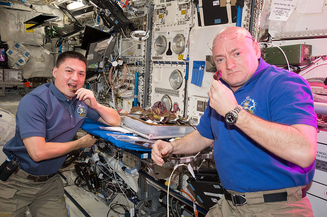 NASA astronauts Kjell Lindgren and Scott Kelly sample leaves of lettuce grown on the space station, an experiment crafted to help future explorers become more self-sufficient. Kelly is about halfway through a nearly yearlong flight to study spaceflight's effects on the human body. Credit: NASA