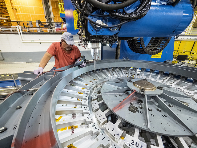 Lockheed Martin engineers perform the first weld for the Exploration Mission-1 Orion crew module at NASA's Michoud Assembly Facility on Sept. 5. Credit: NASA/Radislav Sinyak