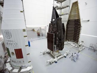 Morelos 3 is encapsulated in the Atlas rocket's nose cone. Credit: ULA
