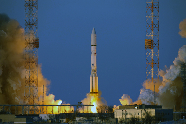 File photo of a Proton rocket launch from the Baikonur Cosmodrome. Credit: Khrunichev
