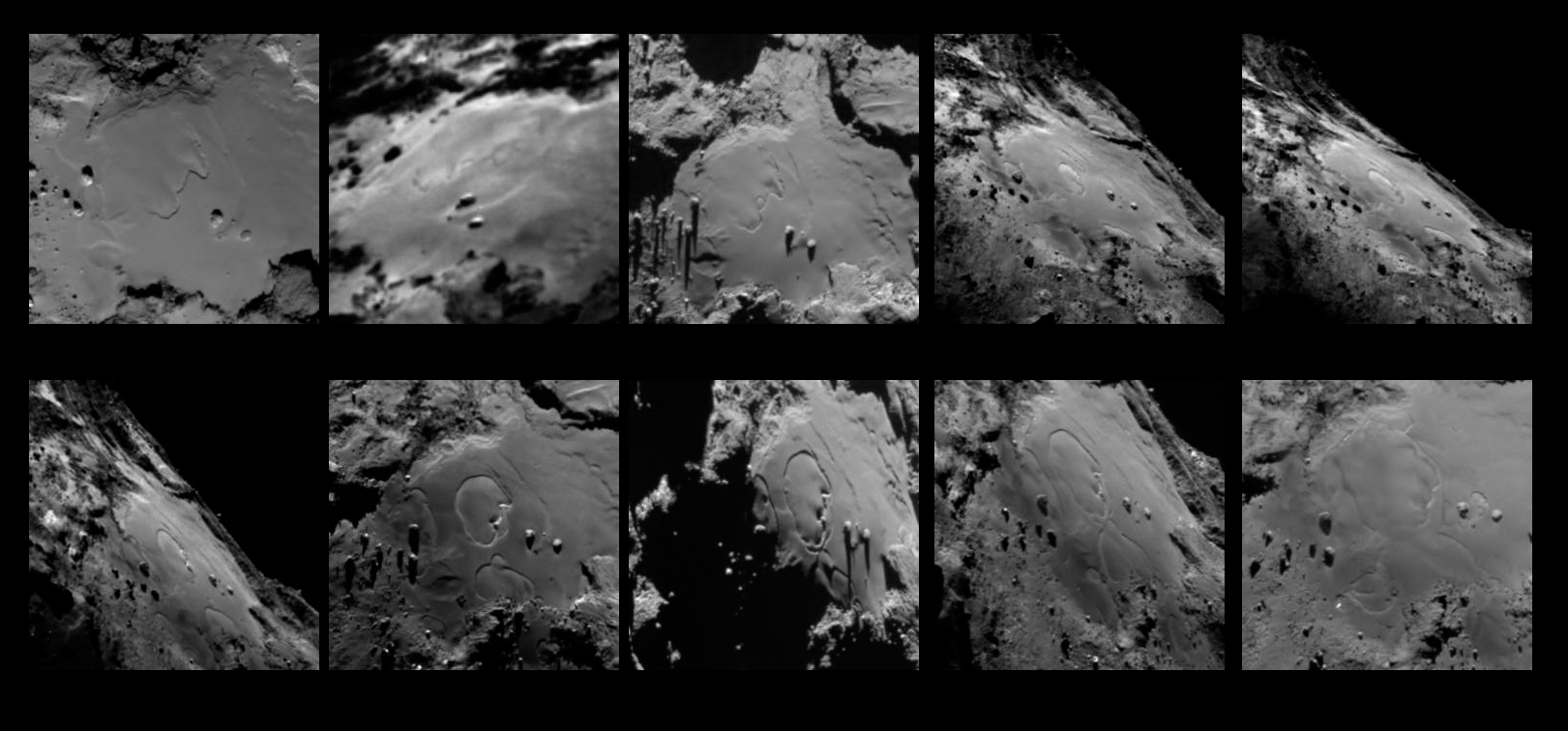 This sequence of ten images showing changes in the Imhotep region on Comet 67P/Chruymov-Gerasimenko were taken with the OSIRIS narrow-angle camera on Rosetta between May 24 and July 11, 2015. Credit: ESA/Rosetta/MPS for OSIRIS Team MPS/UPD/LAM/IAA/SSO/INTA/UPM/DASP/IDA