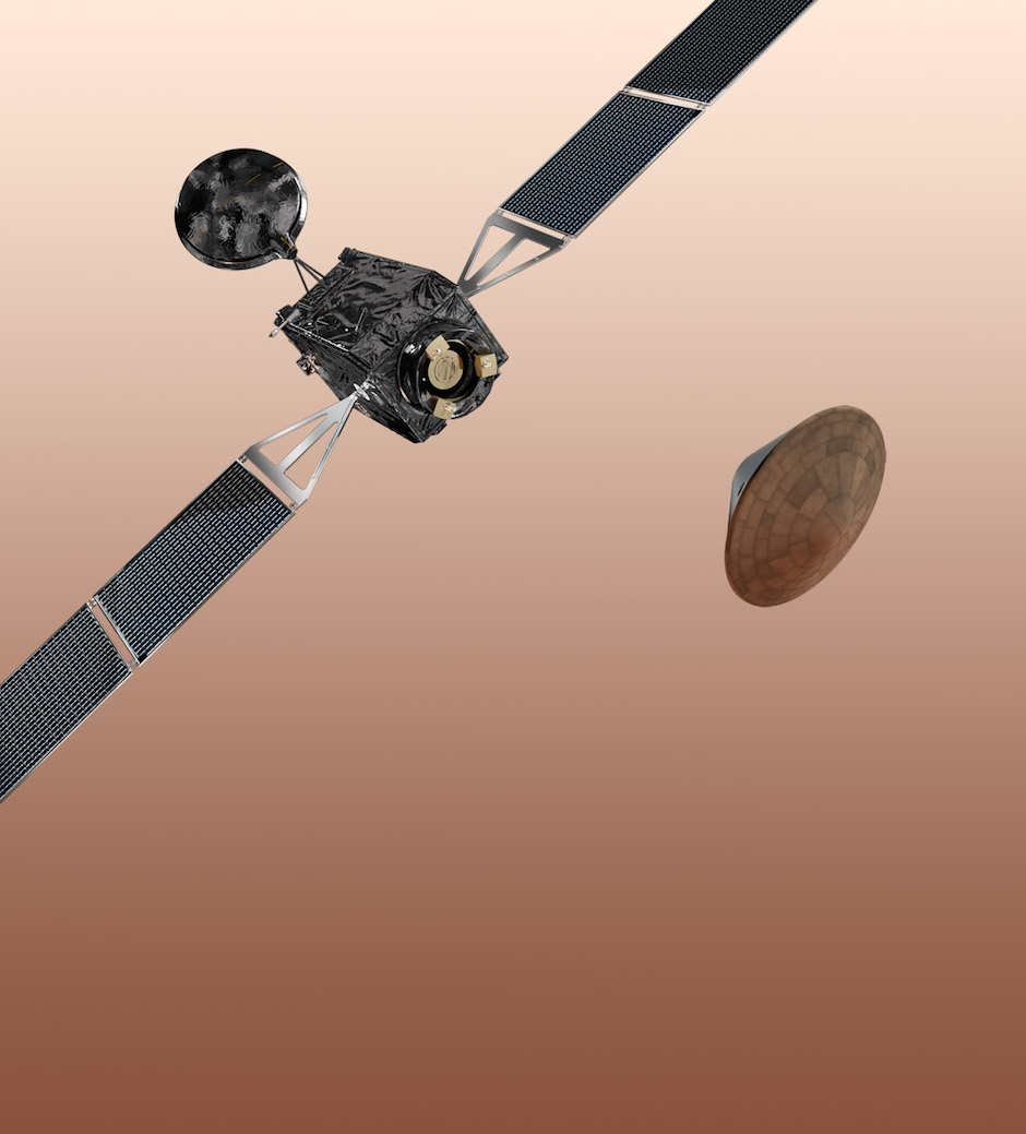 Artist's concept of the ExoMars 2016 orbiter and lander. Credit: ESA