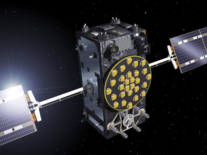 Artist's concept of a Galileo navigation satellite. Credit: ESA-J. Huart, 2014