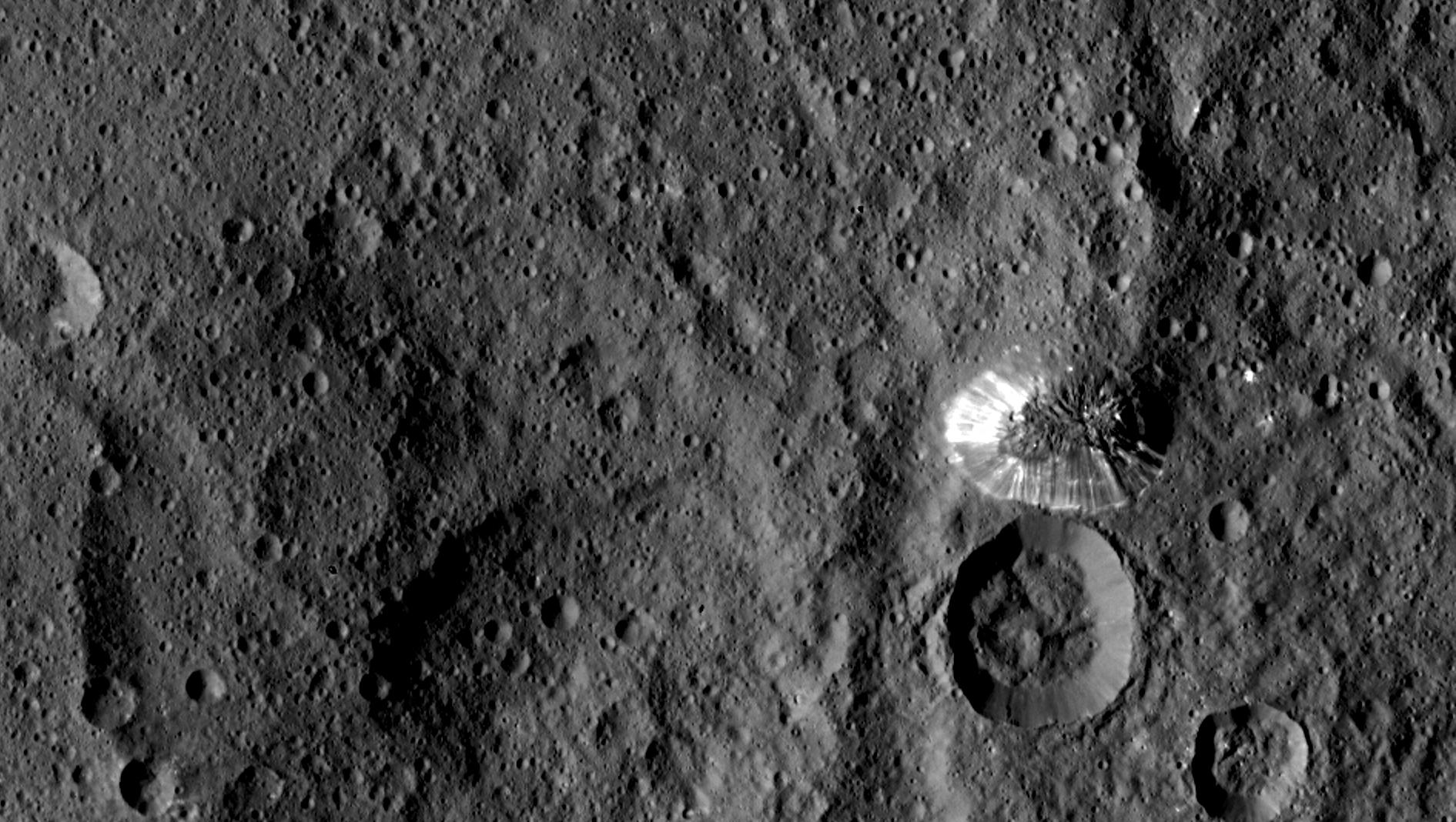 Dawn spotted this conical mountain in Ceres' southern hemisphere. Credit: NASA/JPL-Caltech/UCLA/MPS/DLR/IDA