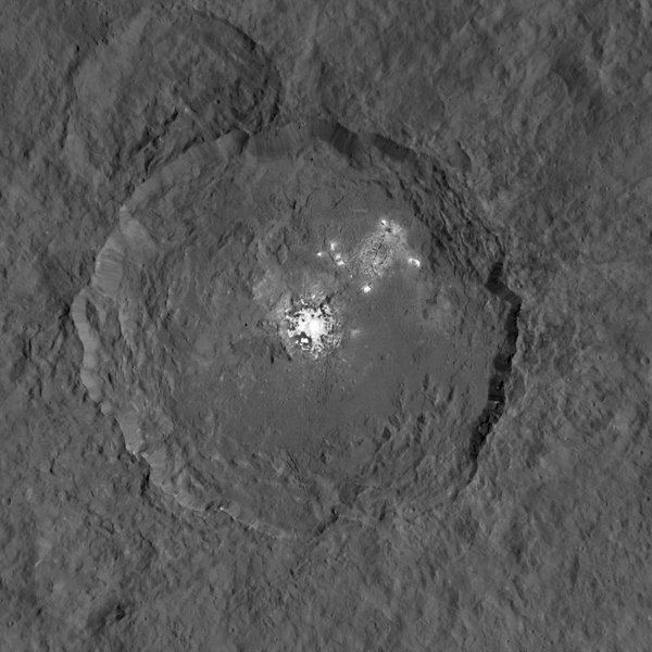 This image taken by NASA's Dawn spacecraft, shows Occator crater on Ceres, home to a collection of intriguing bright spots. Credit: NASA/JPL-Caltech/UCLA/MPS/DLR/IDA