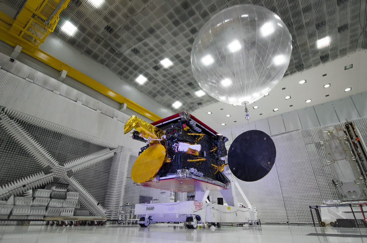 The Arsat 2 satellite is pictured during ground tests at INVAP's facility in Argentina. Credit: Arsat