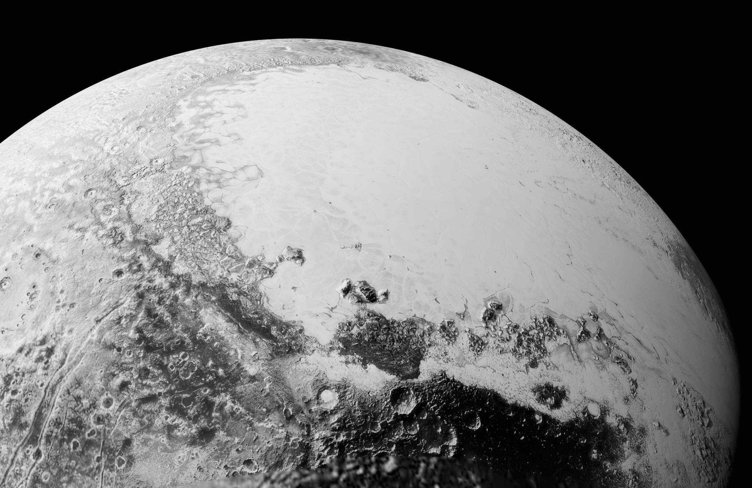 This synthetic perspective view of Pluto, based on the latest high-resolution images to be downlinked from NASA's New Horizons spacecraft, shows what you would see if you were approximately 1,100 miles (1,800 kilometers) above Pluto's equatorial area, looking northeast over the dark, cratered, informally named Cthulhu Regio toward the bright, smooth, expanse of icy plains informally called Sputnik Planum. The entire expanse of terrain seen in this image is 1,100 miles (1,800 kilometers) across. The images were taken as New Horizons flew past Pluto on July 14, 2015, from a distance of 50,000 miles (80,000 kilometers). Credit: NASA/Johns Hopkins University Applied Physics Laboratory/Southwest Research Institute