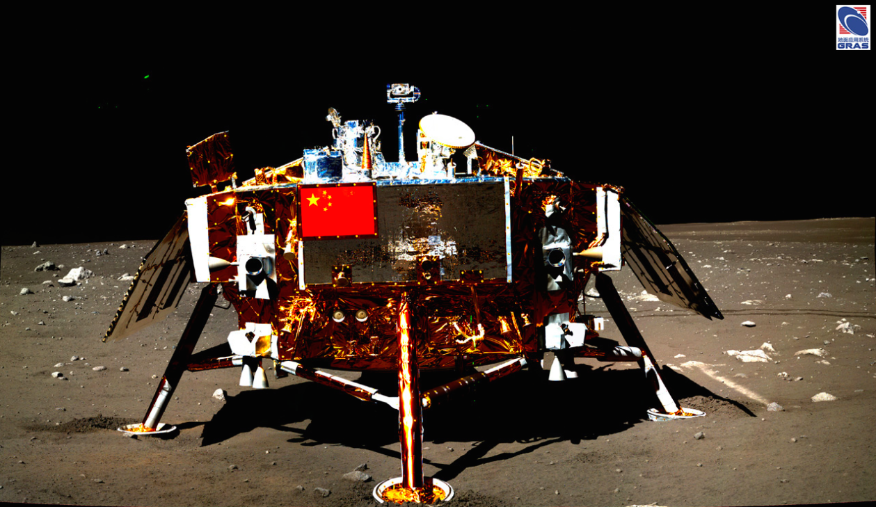 China's Yutu rover took this image of the Chang'e 3 landing platform in December 2013. The Chang'e 4 landing craft uses a similar design. Credit: Chinese Academy of Sciences/NAOC