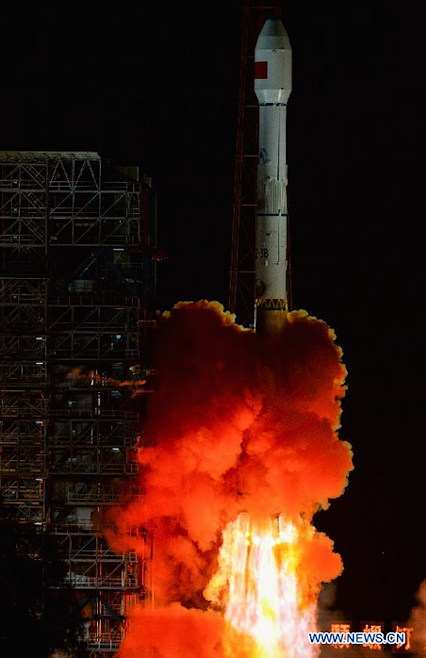A Long March 3B rocket lifted off Saturday from the Niching space center. Credit: Xinhua