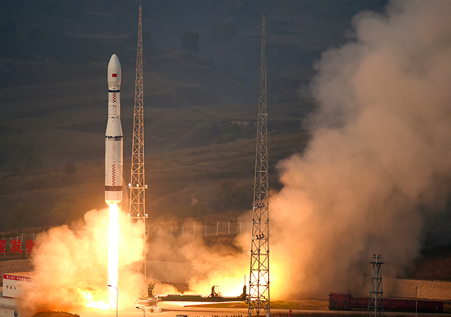 The first launch of China's new Long March 6 rocket took off at 2301 GMT (7:01 p.m. EDT) from the Taiyuan space center in northern China. Credit: Chinese Ministry of Defense
