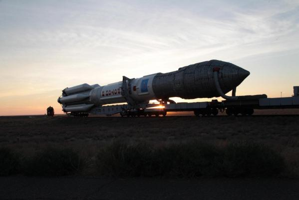 The Proton rocket rode a specially-designed rail car to its launch pad at the Baikonur Cosmodrome. Credit: Roscosmos