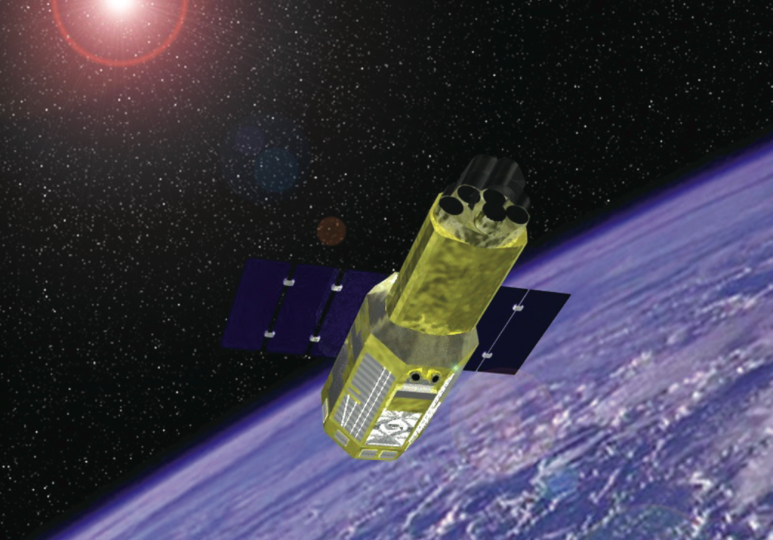 Artist's concept of the Suzaku satellite. Credit: NASA/JAXA