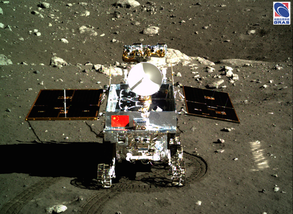 China's Yutu rover is pictured in this view from the Chang'e 3 landing platform shortly after arriving on the moon in December 2013. Credit: Chinese Academy of Sciences/NAOC