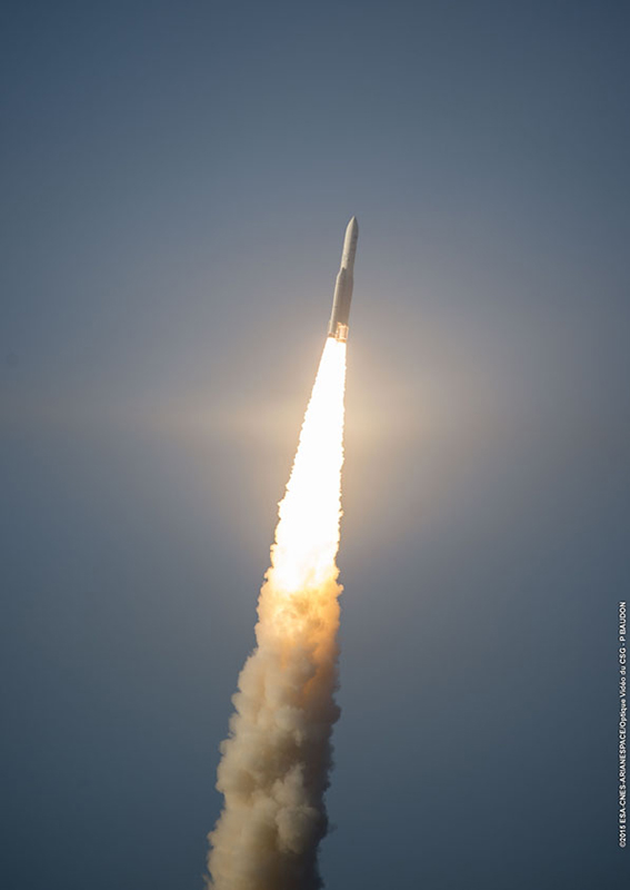 The Ariane 5 rocket lifted off at 5:30 p.m. French Guiana time (2030 GMT; 4:30 p.m. EDT) Friday with the Sky Muster and Arsat 2 telecom satellites. Credit: ESA/CNES/Arianespace – Photo Optique Video du CSG – P. Baudon