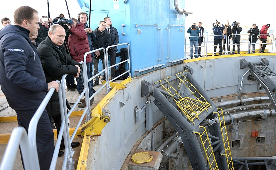 Russian President Vladimir Putin visits the Soyuz launch pad at the Vostochny Cosmodrome. Credit: Kremlin press service