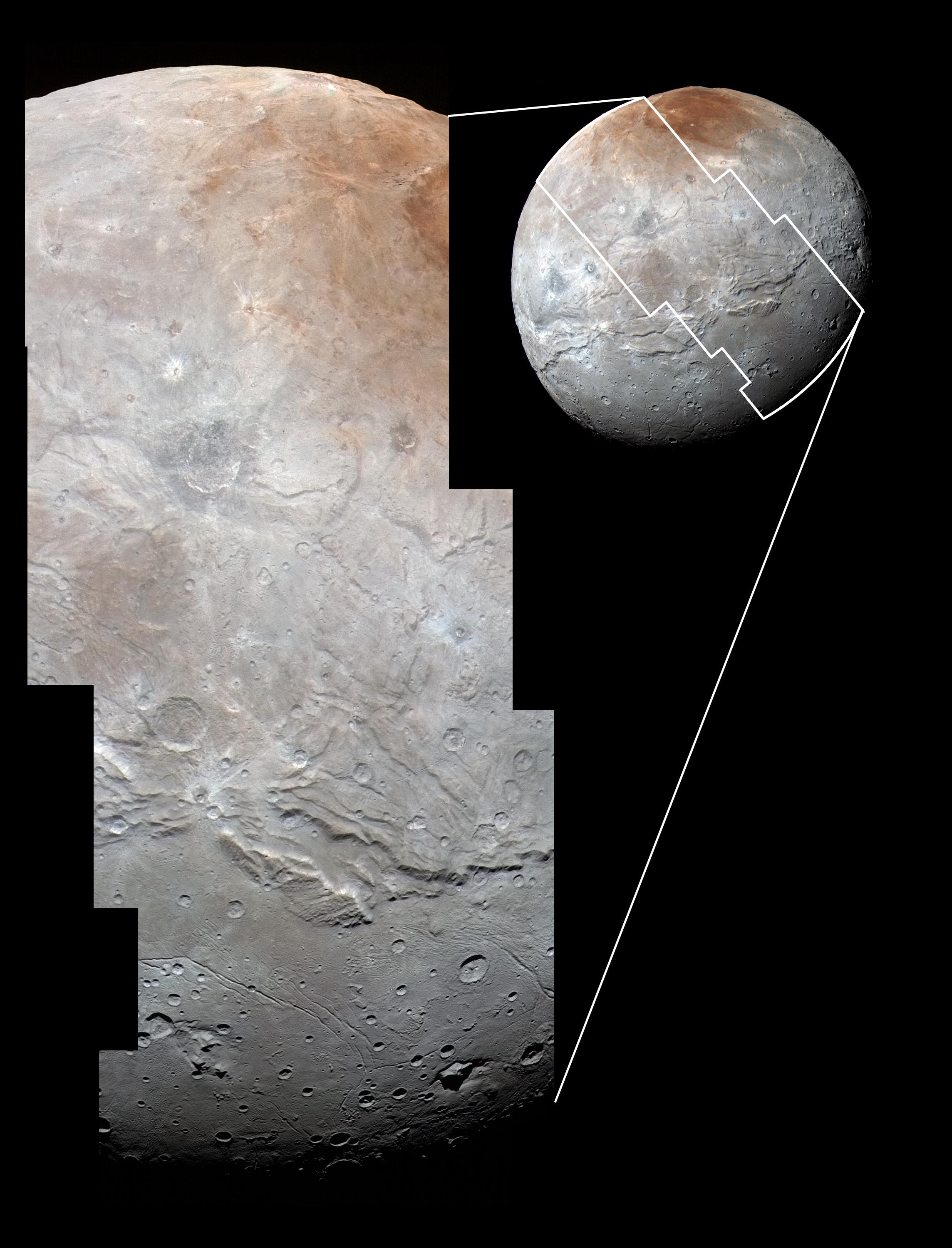 Sharper than the view above, this image combines high-resolution imagery from New Horizons' telescopic LORRI black and white camera with color data from the Ralph instrument. Features as small as a half-mile (0.8 kilometers) are resolved here. Credit: NASA/Johns Hopkins University Applied Physics Laboratory/Southwest Research Institute