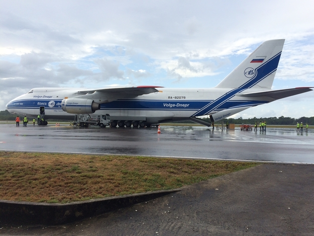 The Antonov An-124 transport aircraft carrying LISA Pathfinder is seen at Cayenne's Félix Eboué Airport. Credit: ESA