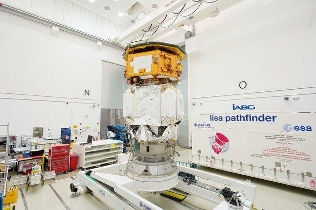 ESA's LISA Pathfinder spacecraft is seen inside IABG's test center near Munich on Aug. 31. Credit: ESA–P. Sebirot, 2015