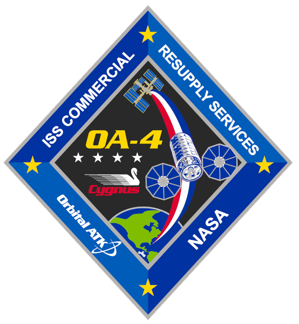 The mission patch for Orbital ATK's OA-4 space station resupply flight. Credit: Collectspace.com