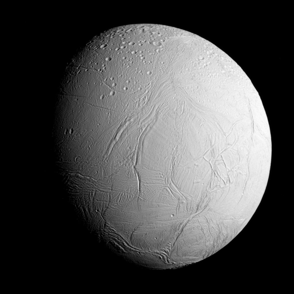 NASA's Cassini spacecraft captured this view as it neared icy Enceladus for its closest-ever dive past the moon's active south polar region. Credit: NASA/JPL-Caltech/Space Science Institute