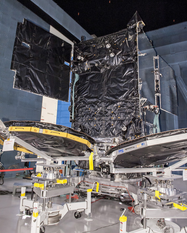 The SES 9 communications satellites was placed in storage at its Boeing factory in Southern California to await a slot in the Falcon 9 manifest. Credit: SES