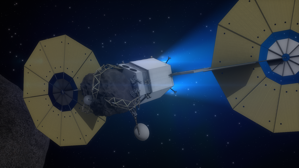 Artist's concept of the Asteroid Redirect Robotic Mission spacecraft with a captured boulder from an asteroid. Credit: NASA