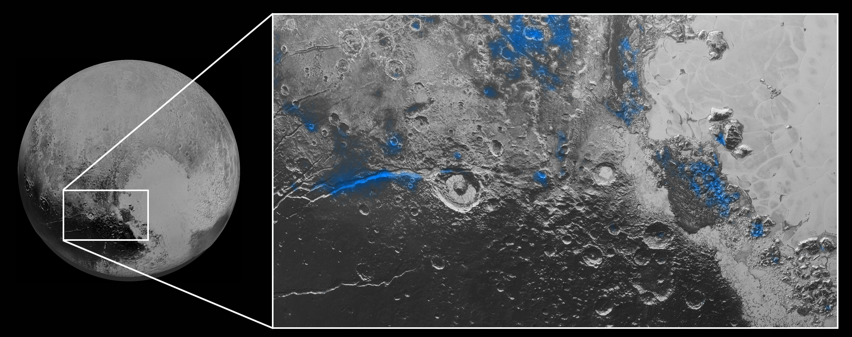 Regions with exposed water ice are highlighted in blue in this composite image from New Horizons' Ralph instrument, combining visible imagery from the Multispectral Visible Imaging Camera (MVIC) with infrared spectroscopy from the Linear Etalon Imaging Spectral Array (LEISA). The strongest signatures of water ice occur along Virgil Fossa, just west of Elliot crater on the left side of the inset image, and also in Viking Terra near the top of the frame. A major outcrop also occurs in Baré Montes towards the right of the image, along with numerous much smaller outcrops, mostly associated with impact craters and valleys between mountains. The scene is approximately 280 miles (450 kilometers) across. Note that all surface feature names are informal. Credit: NASA/JHUAPL/SWRI