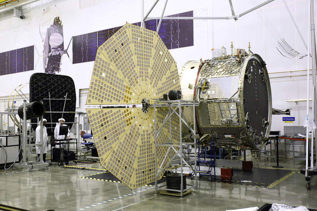The service module for Orbital ATK's next Cygnus cargo craft will be shipped to the launch site at Cape Canaveral from Virginia later this month. It features upgrades such as fan-shaped solar arrays and a lengthened cargo module. Credit: Orbital ATK.