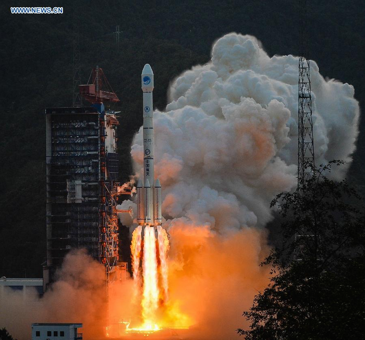 China's Long March 3B rocket lifted off at 2313 GMT (7:13 p.m. EDT) Tuesday. Credit: Xinhua