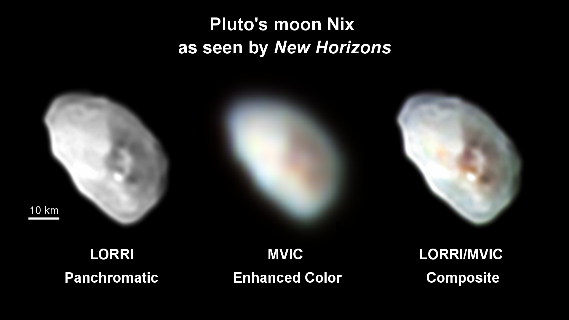 Pluto's moon Nix is shown in high-resolution black-and-white and lower resolution color. Credit: NASA/JHUAPL/SwRI