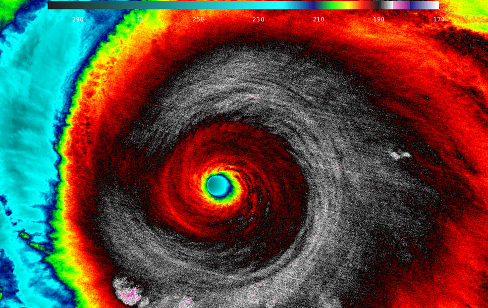 The VIIRS instrument on the joint NOAA-NASA Suomi NPP weather satellite in polar orbit captured this infrared view of the eye of Hurricane Patricia at 0920 GMT (5:20 a.m. EDT) Friday when the storm had maximum sustained winds of 200 mph. Credit: UW/CIMSS/William Straka III
