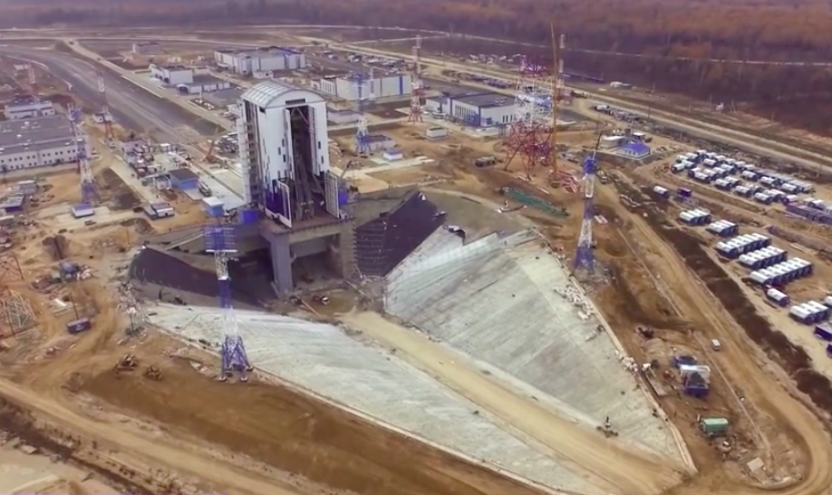An aerial view of the Soyuz launch pad at the Vostochny Cosmodrome. Its design is similar to the Soyuz launch facility at the European-run Guiana Space Center in South America, with a large concrete flame pit and mobile service gantry. Credit: Roscosmos