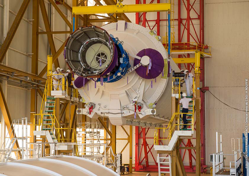 The cryogenic first stage of the Ariane 5 rocket for Tuesday's launch was unpacked and erected inside the launcher integration building in September. Credit: ESA/CNES/Arianespace – Optique Video du CSG – H. Rouffie