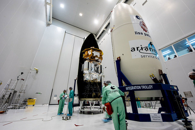 LISA Pathfinder and its orbit-raising propulsion module were enclosed inside the Vega rocket's payload fairing Nov. 16. Credit: ESA-Manuel Pedoussaut, 2015