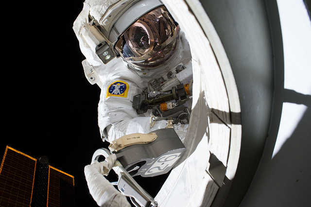Astronaut Scott Kelly is pictured outside the International Space Station during an Oct. 28 spacewalk. Credit: NASA