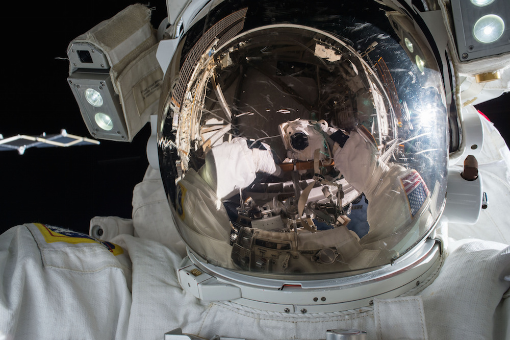 Astronaut Kjell Lindgren took this selfie during the Nov. 6 spacewalk. Credit: NASA