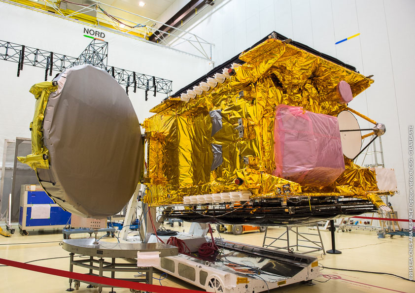 The GSAT 15 satellite is pictured during launch preparations in French Guiana. Credit: ESA/CNES/Arianespace – Optique Video du CSG – G. Barbaste