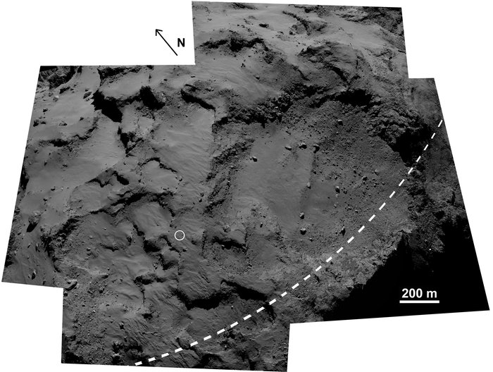 This mosaic of images from Rosetta's OSIRIS science camera area shows the area surrounding Philae's first touchdown point, Agilkia (circled) on comet 67P/Churyumov–Gerasimenko. The large depression is the Hatmehit region. The dashed line marks the comet's equator. This image is a composite of five frames from the OSIRIS narrow-angle camera. Credit: ESA/Rosetta/MPS for OSIRIS Team MPS/UPD/LAM/IAA/SSO/INTA/UPM/DASP/IDA