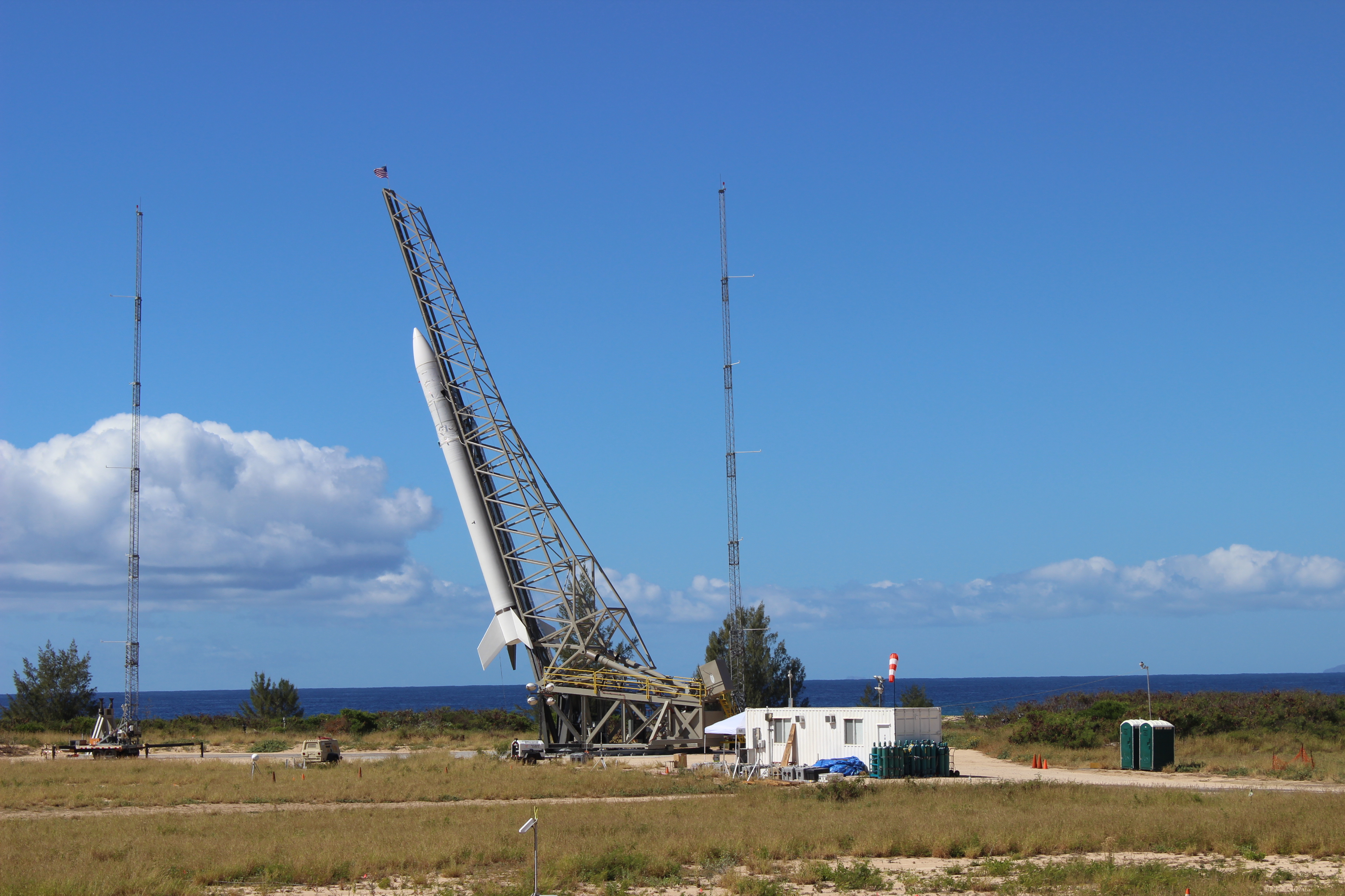 The Super Strypi launch vehicle is fastened to a rail launch system at the Pacific Missile Range Facility in Kauai, Hawaii. Credit: U.S. Air Force